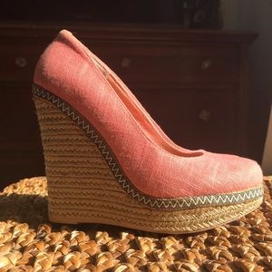 Coral Pink Wedges Pumps, Rope, Call it Spring